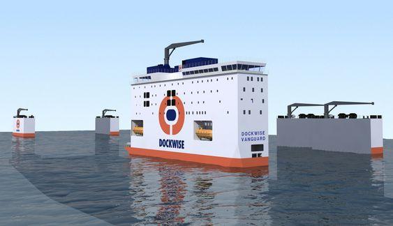 """Lastedekket på """"Dockwise Vanguard"""" kan senkes inntil 16 meter under havoverflaten under lasteoperasjoner."""