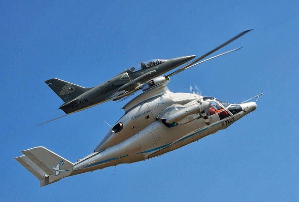 Delfin og albatross: X3-helikopteret sammen med et L-39 treningsfly.