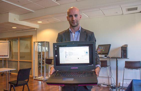 Spillbeist: Den nye Alienware 18 tommeren veier seks kilo og bare grafikken trekker inntil 200 watt. Men så kan den i følge nordisk markedssjef for forbrukersegmentet i Dell, Philip Eide kjøre alt som finnes av PC-spill på markedet