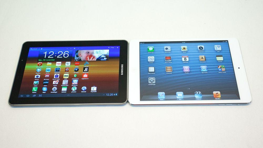 Apple har fortsatt godt over 40 prosent av nettbrettmarkedet, men Samsung kapper innpå.