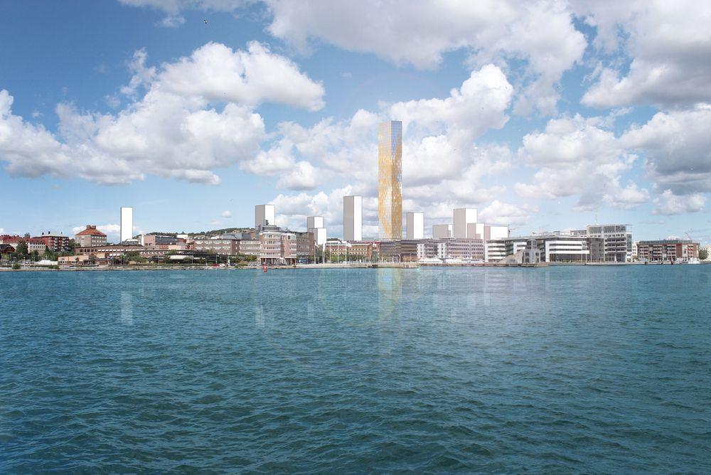 KAMP: Det blir ikke bare en kamp mellom arkitekter, men også en kamp mellom Stockholm og Göteborg: Hvilken by får det høyeste huset. Illustrasjonen viser hvordan det kan se ut i Göteborg.