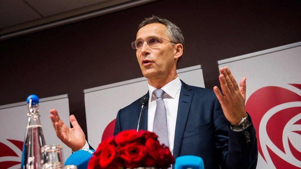 Partileder Jens Stoltenberg holdt onsdag pressefrokost i Folkets Hus i forkant av Arbeiderpartiets landsmøte.