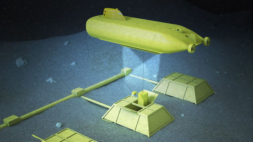 Tegning som viser en Masu-ubåt under arbeid ved et undersjøisk havbunnfabrikk for olje- og gassindustri. Illustrasjon: Kockums.