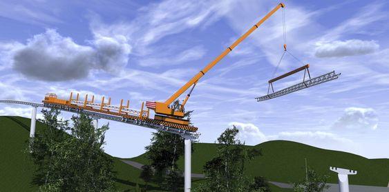 Enkel montering: Når pilarene er montert, gjerne med helikopter, er utlegging av skinnesystemet en enkel sak.