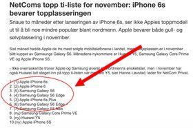 Her er NetComs liste over de mest solgte telefonene fra deres butikker i november 2015. Ikke overraskende regjerer Apple og Samsung med dyre og ekslusive premiummodeller på toppen.