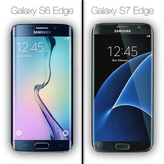 Galaxy S6 Edge (til venstre) er svært, svært lik Galaxy S7 Edge i utformingen, men det er tydelig at rammene på den nye modellen er betydelig mindre.
