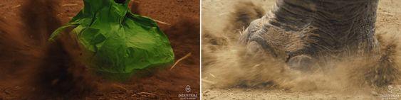 Ved hjelp av en dinosaurfotformet sandsekk klarte man å skape et naturlig nedslag i filmen.