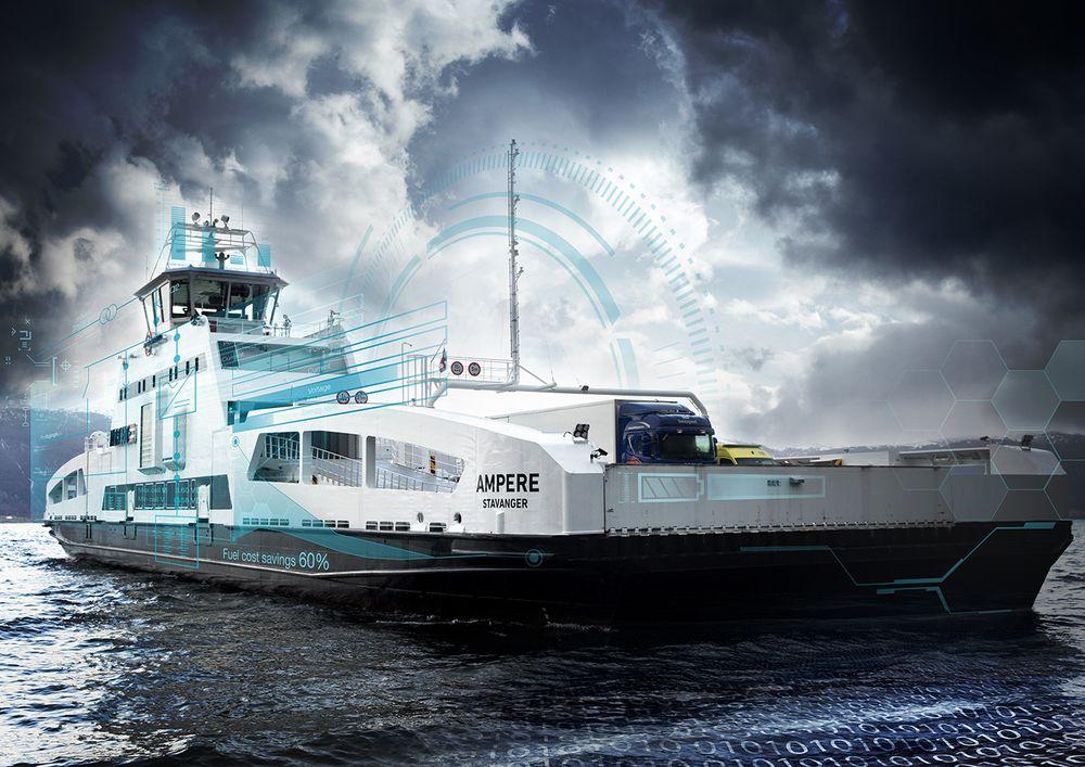 Studien er basert på driftserfaringene fra den elektriske fergen Ampere som trafikkerer strekningen Lavik - Oppedal i Sogn og Fjordane. Foto: Siemens