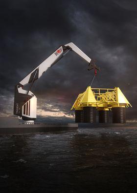 """NOV Trident 400. Med fibertau skal en 400-tonnskran kunne løfte en 400 tonns subseamodul på 40 meters lengde, 30 meters bredde og 20 meters høyde. Fibertauet er nøytralt i vann og """"spiser"""" ikke av kranas kapasitet."""