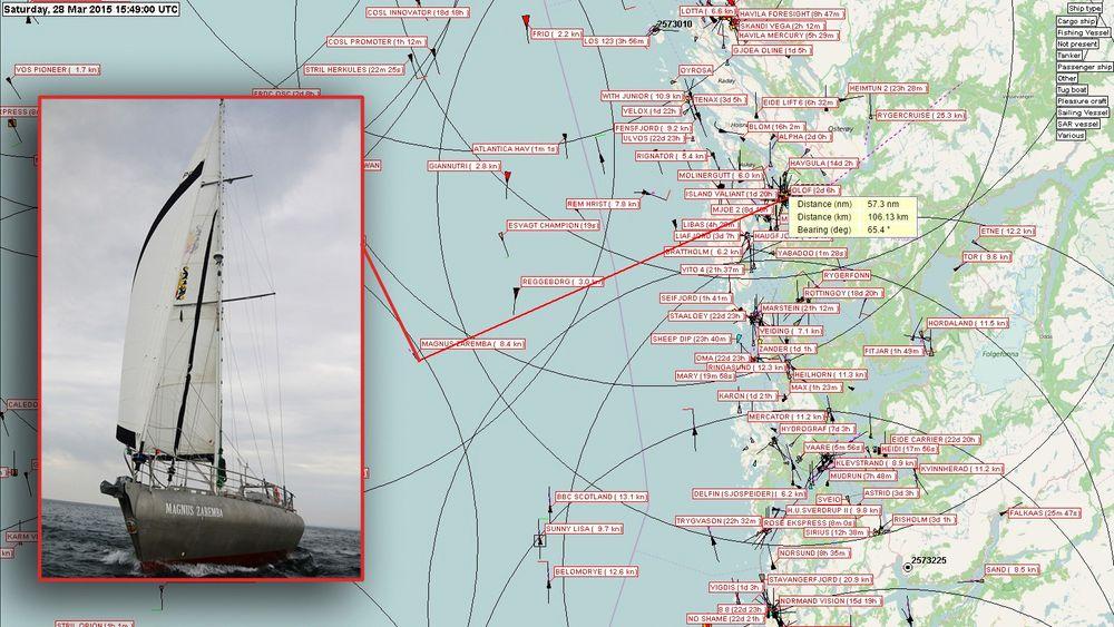 Seilbåten Magnus Zaremba forliste 57,3 nautiske mil utenfor kysten. Det nye AIS-baseutstyret ble installert på Rundemanen to dager før. Den klarte å fange signalene og gi riktig posisjon til redningsmannskapet. Med det gamle systemet, ville avstanden vært for stor.