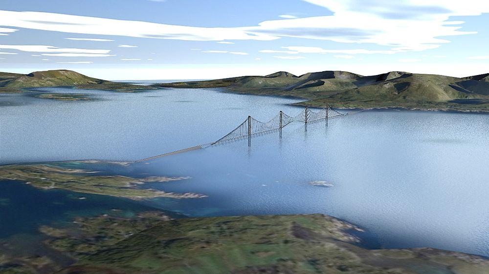 Energibru som produserer strøm er et forslag fra Norconsult til hvordan man kan løse gfjordkryssinger langs E39. Ved hjelp av opp mot 50 doktorgrader håper Vegvesenet nå på flere innovative, spennende løsninger. Foto: Ben-Tommy Eriksen / NorNet as