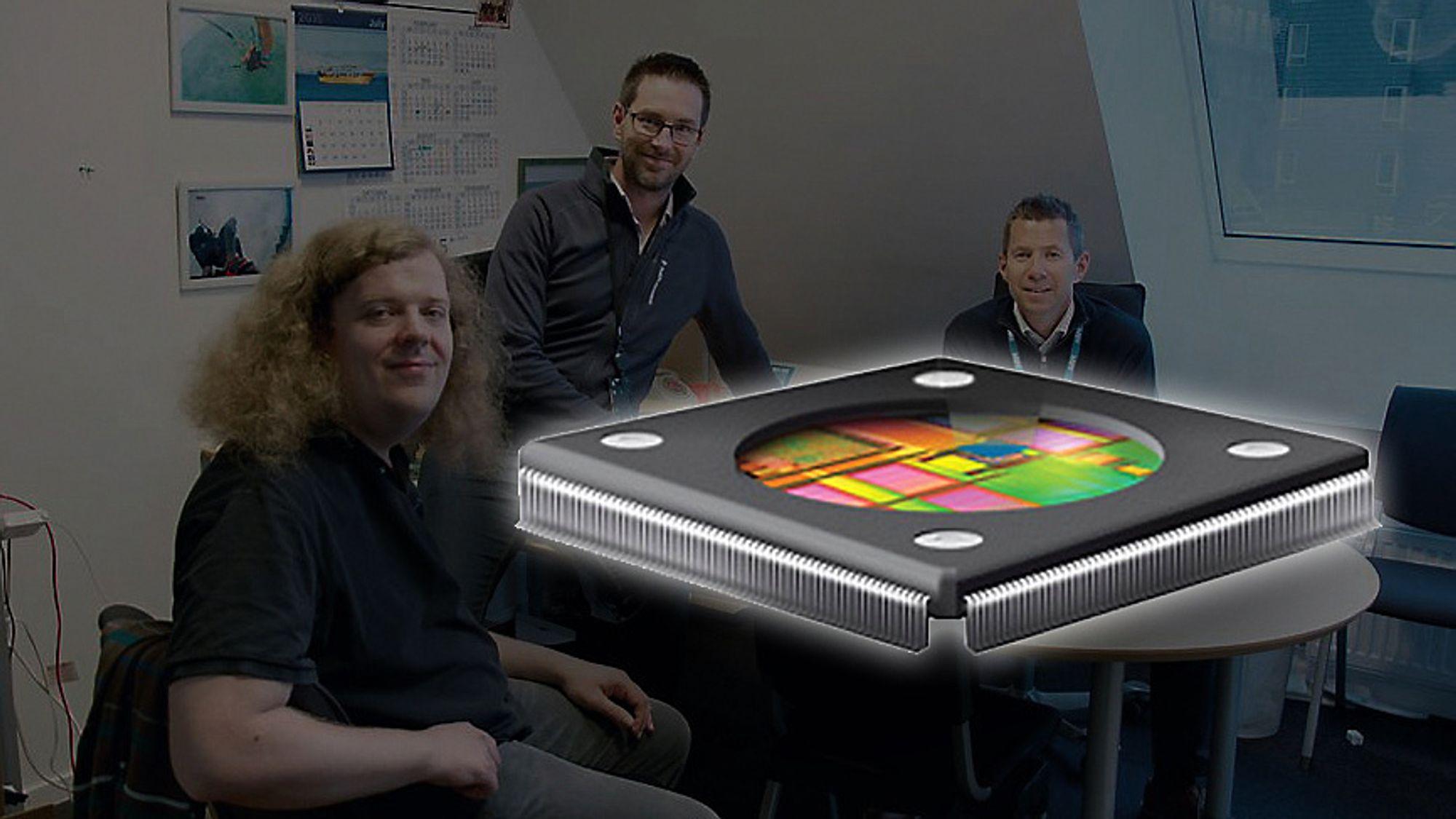 I år vil Arms trondheimsavdelings GPU-design sitte i 700 millioner brikker, og fremtiden ser lys ut. Jørn Nystad (f.v.) og Edvard Sørgård var med å etablere selskapet etter at de gikk ut fra NTNU. Kjetil Sørensen har ledet selskapet i over ti år.