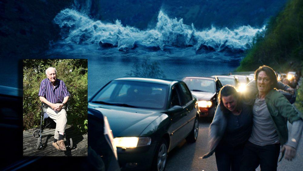 """I fiksjonsfilmen """"Bølgen"""" inntreffer det fryktede skredet i Åkneset, som igjen fører til en gigantisk flodbølge."""