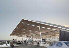 Slik skal hovedinngangen til den nye terminalen se ut. Reisende fra terminal 2 skal også ankomme her.