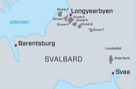 I området rundt Longyearbyen er det nå bare drift i Gruve 7.