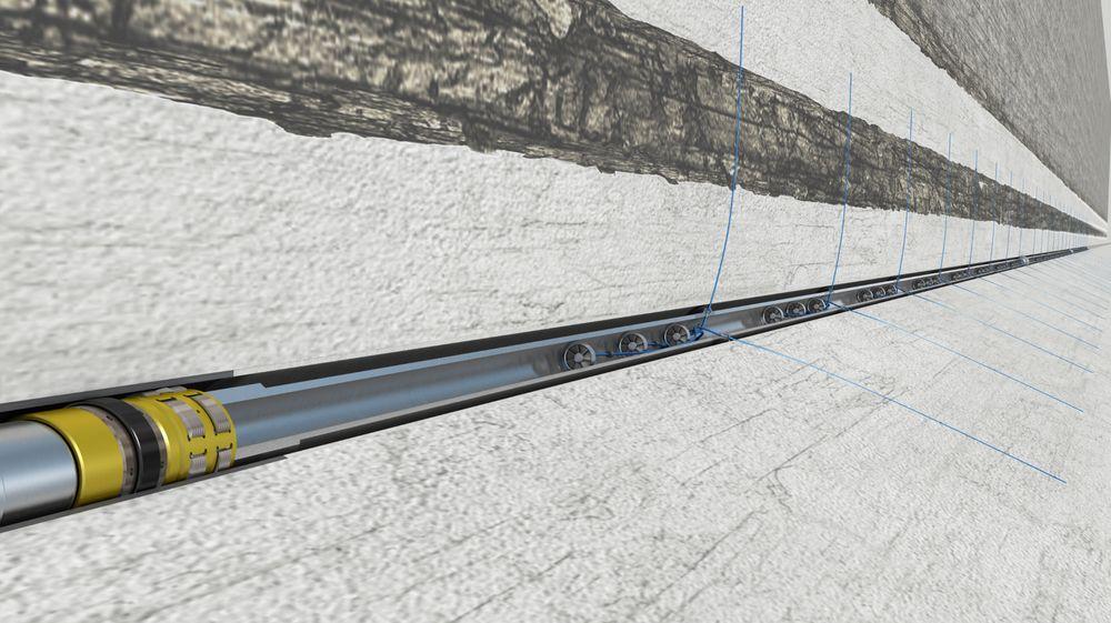 Utstyret til Fishbones borer tynne kanaler sideveis ut fra brønnen i et fiskebeinsmønster. På Smørbukk Sør ble det boret 144 slike kanaler samtidig.