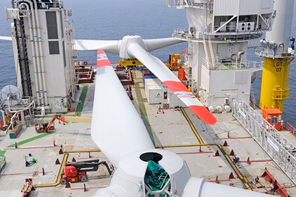 Største fornybareksportør: I fjor installerte Fred. Olsen Oceans datterselskap Fred. Olsen Windcarrier totalt 155 vindturbiner på tysk sokkel i Nordsjøen, 75 av dem her i havvindparken Global Tech I.