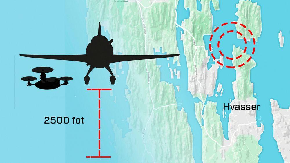 En drone kolliderte med et småfly i 19-tida søndag 30. august, rett nord for Hvasser i Tjøme kommune i Ytre Oslofjord.
