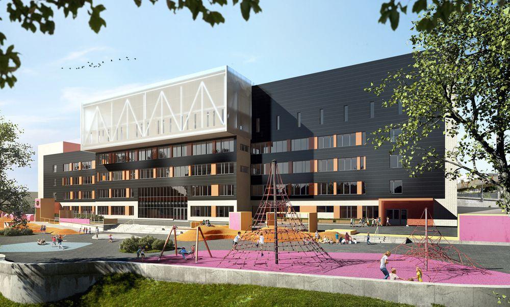 Brynseng skole i Oslo får solceller på fasaden. Det kan bli mye solceller på både tak og fasader på byens skoler om Arbeiderpartiet får det som de vil.