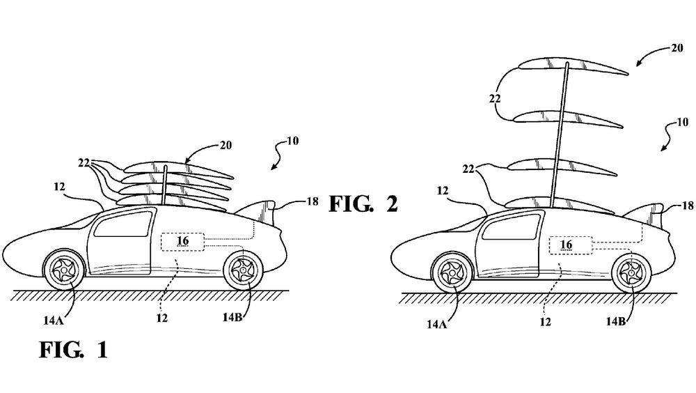 Toyota har søkt om patent på et konsept som gjør det som ser ut som en Prius om til et multiplane med fire vinger.