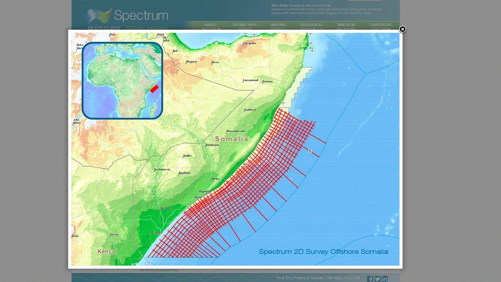 Norskbaserte Spectrum skal samle inn 2D-seismikk over et område på 28.000 kilometer offshøre sør i Somalia. Faksimile.