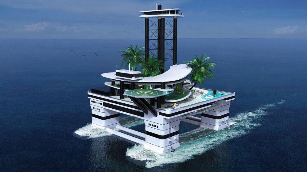 """Kokomo Ailand er en halvt nedsenkbar """"rigg"""" som kan seile på verdenshavene i åtte knop."""