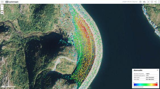 Radar(SAR)-data over Akersvattn, som viser hvor mye dammen stiger (blir presset opp av vannet).