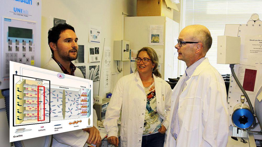 Ahmet Oguz Tezel, Ann Mari Svensson og Svein Sunde jobber blant annet med teknologien bak nye batterier.