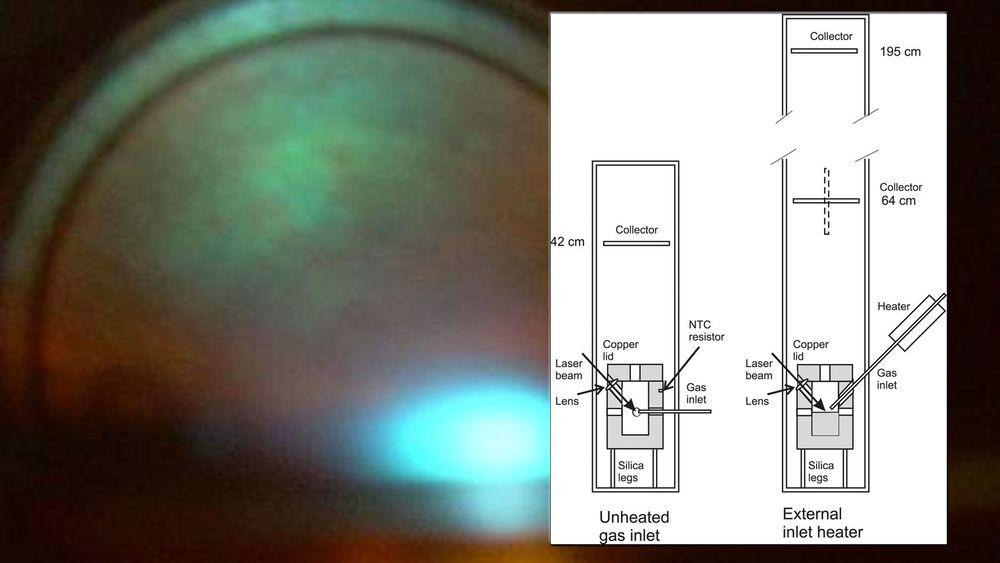 Fusjon av ultratett deuterium ved hjelp av lasert påstås å være en energikilde som kan kommersialiseres om kort tid. Bildet er tatt av forskerens fusjonsforsøk. Foto: GU/Holmlid/montasje