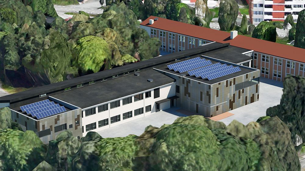 Varden skole i Fyllingsdalen i Bergen skal oppgraderes med PVT-paneler og grunnvarmepumpe. I tillegg rives deler av skolen, og erstattes med passivhus.