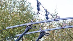 Kontaktledningene fører 600 volt DC, som vekselrettes om bord i bussen.