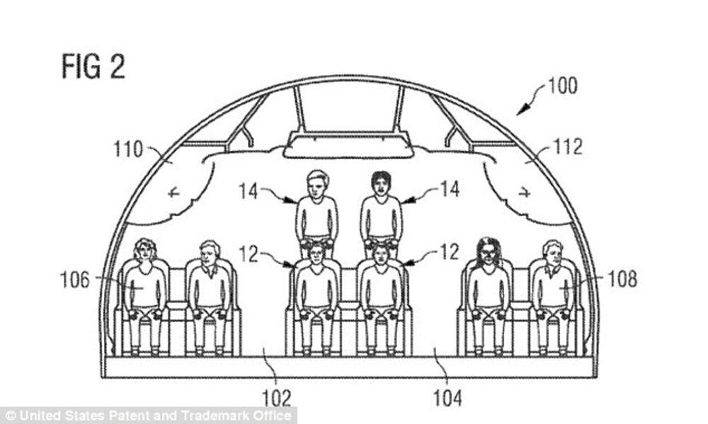 Bildene fra patentsøknaden viser at passasjerene kan bli sittende i høyden.