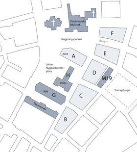 Oversiktskart av anbefalingen for nytt regjeringskvartal.