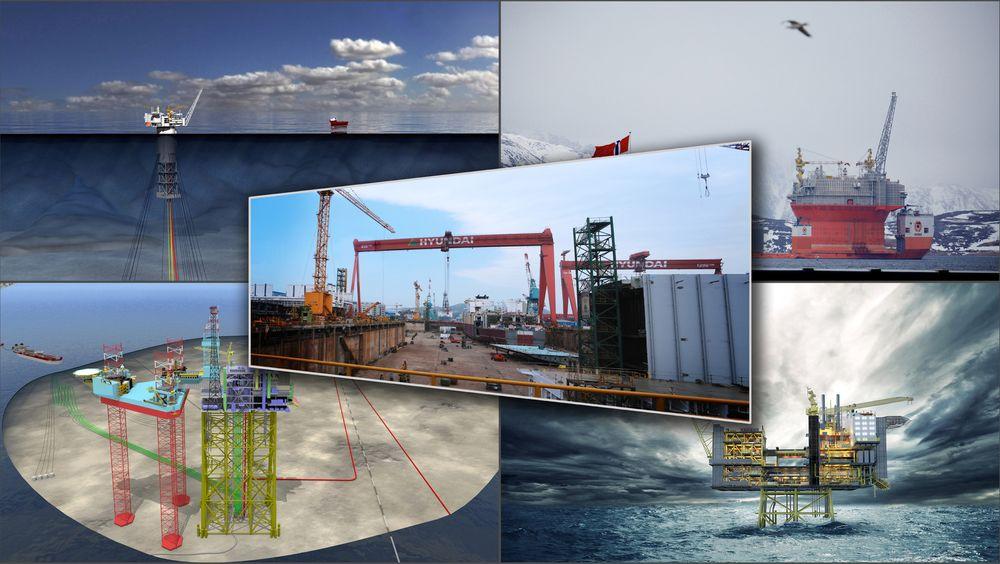 I statsbudsjettet 2016 vil det vise seg hva de nye kostnadsanslagene vil være for Aasta Hansteen (oppe til venstre), Goliat (oppe til høyre), Martin Linge (nede til venstre) og Edvard Grieg (nede til høyre). Flere av prosjektene leveres fra Hyundai Heavy Industries (midten), der blant annet Goliat har gått på kraftige kostnadssmeller.