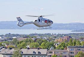 Airbus Helicopters og Norsk Luftambulanse på testflygning ved Oslo universitetssykehus, Ullevål.