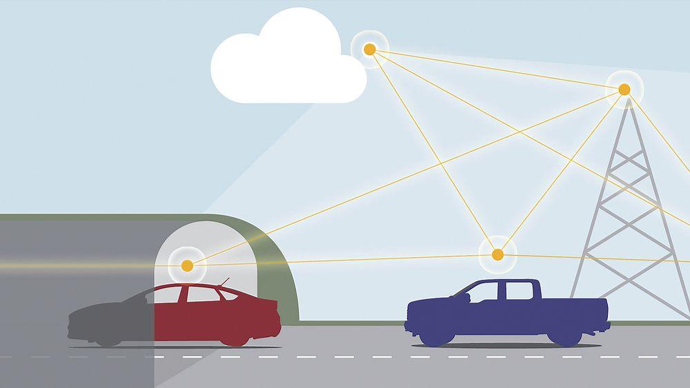 Kjøretøy-til-kjøretøy-kommunikasjon kommer snart til å bli standard i nye biler.