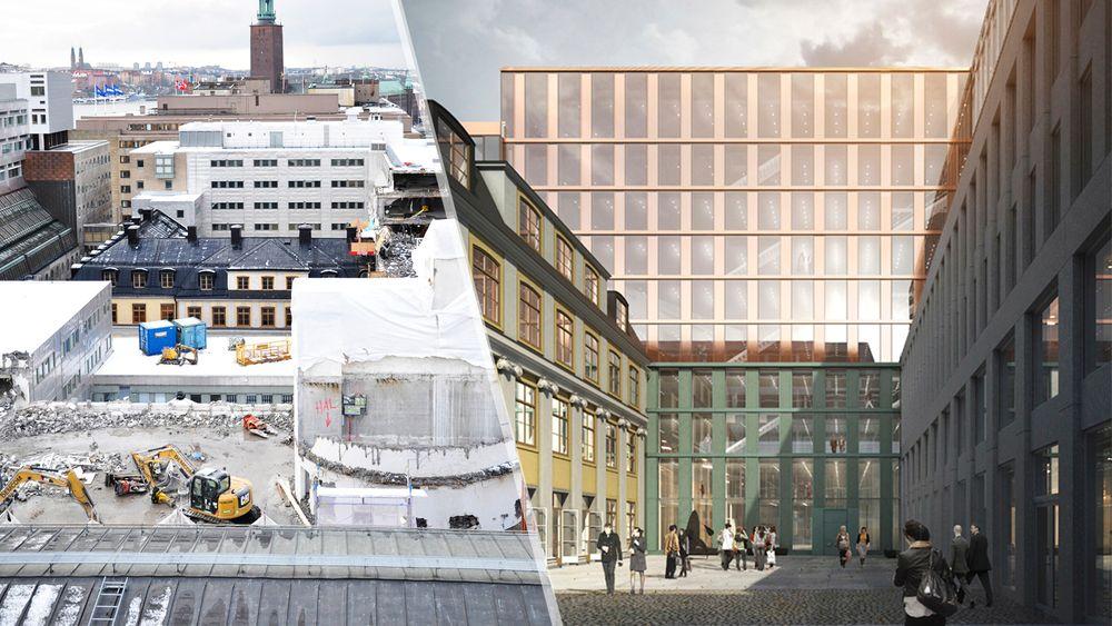 Akkurat som det norske regjeringskvartalet ligger det svenske regjeirngskvartalet midt i byen. Det fører til utfordirnger når man bygger med høye krav til sikkerhet, ifølge Statens fastighetsverk i Sverige.