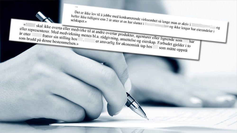 Eksempler på konkurranseklausuler i kontrakter hentet fra dommer. Trolig må flere slike klausuler nå endres.