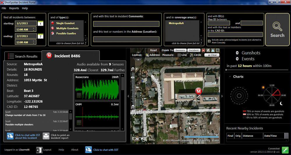 Når et skudd blir avfyrt, fanger sensorene opp lyden, som sendes til et senter for analyse. I løpet av om lag 30 sekunder får det lokale politiet bekreftet eller avkreftet om det var skudd, og i så fall hvor skuddet fant sted.