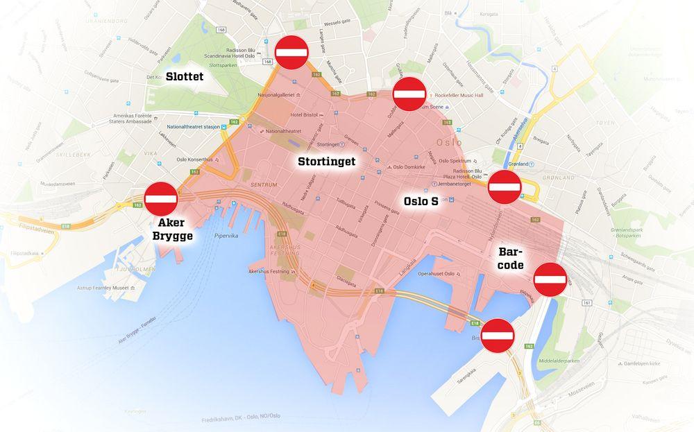 Bilfritt Oslo sentrum innenfor Ring 1.