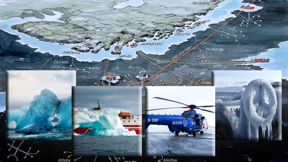 Blant problemene som kan oppstå med oljevirksomhet på 74 grader nord, er håndtering av ising.