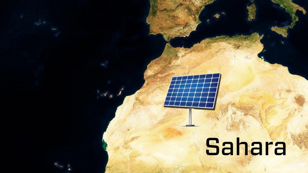 Så stort måtte et solcellepanel i Nord-Afrika vært for å dekke verdens energibehov i 2012. Størrelsen tilsvarer nesten én ganger landarealet til Norge, eller 3,5 prosent av Sahara.
