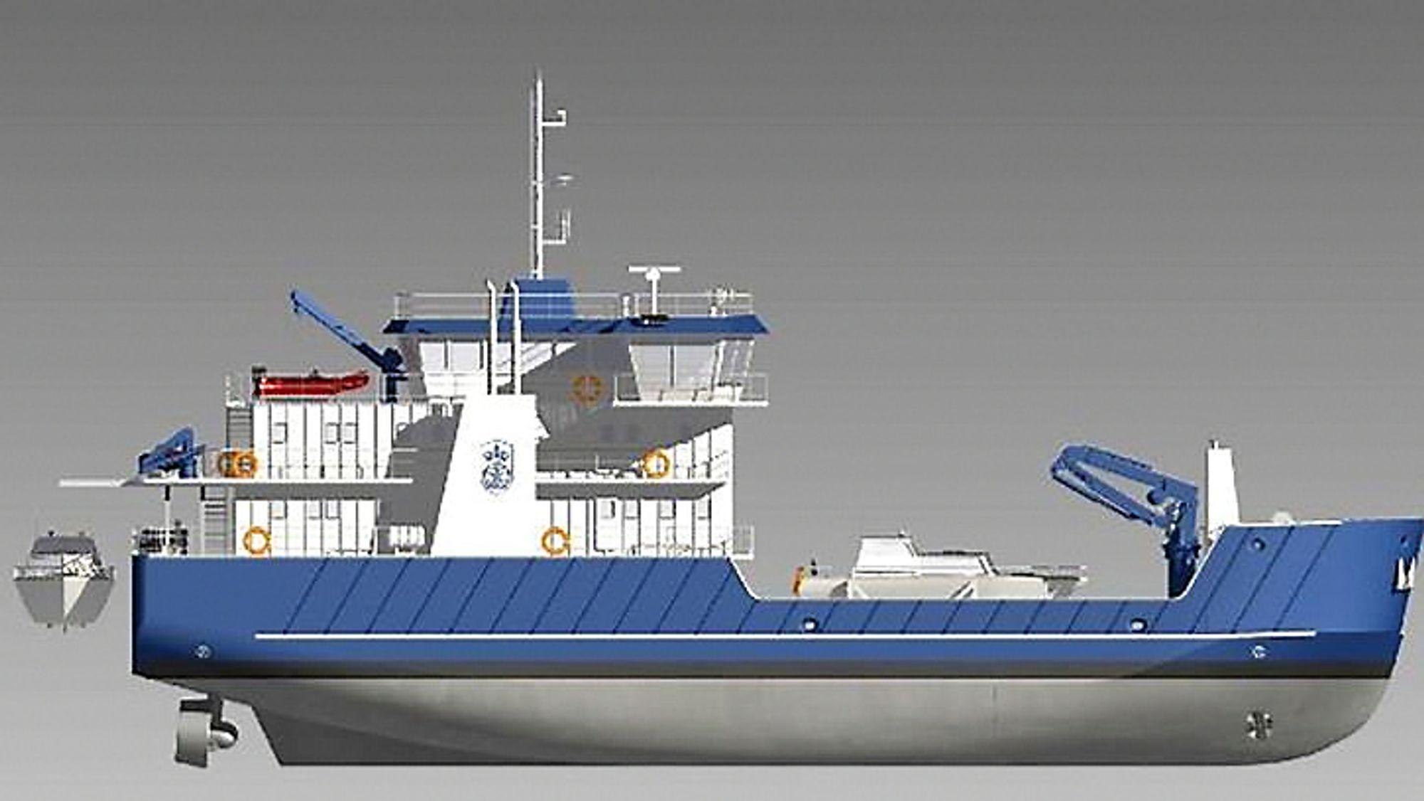 Slik skal Kystverkets nye flerfunksjonsfartøy OV Bøkfjord se ut. Kystverket vil bruke opsjonen de har på et identisk fartøy.