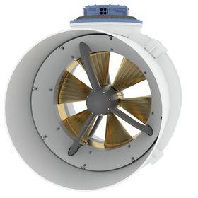 PM tunnelthruster. Ringen rundt er stator mens propellen fungere som el-motorens rotor. Det gir bedre kraftoverføring, færre bevegelige deler, bedre og raskere moment og sparer mye plass.