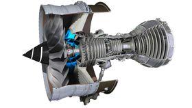 Markert med blått er den 3D-printede komponenten i Trent XWB-97.