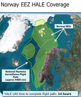To slike runder rundt Norges økonomiske sone kan Triton gjennomføre på ett oppdrag, ifølge Northrop Grumman som åpenbart laget denne grafikken før de ble klart at Andøya-basen skal legges ned.