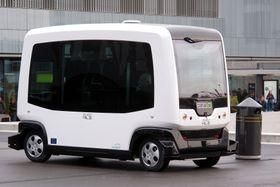 Ligier Easymile-bussene kan settes i trafikk i et norsk pilotprosjekt neste år. Her fra en demonstrasjon i Frankrike.