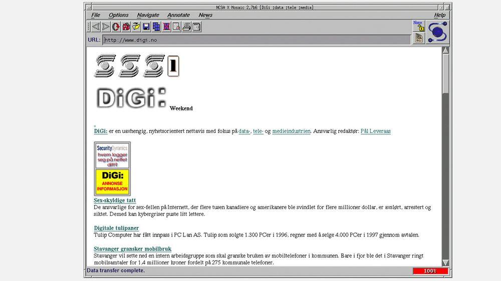 IT-bransjens nettavis anno 1997 i NCSA Mosaic 2.7b6 på Linux. digi.no ble for øvrig lansert allerede året før som Norges første rene nettavis.