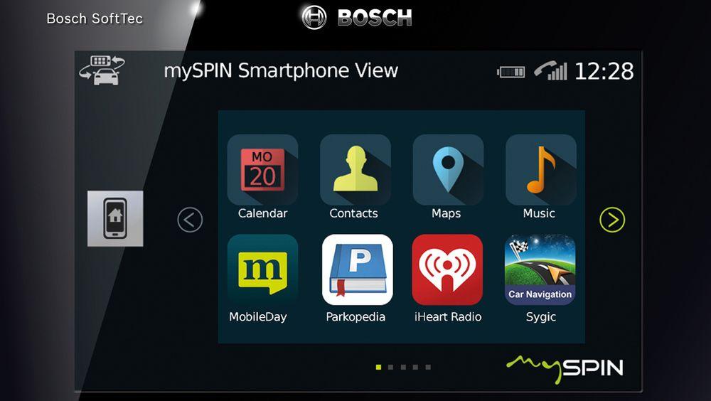 Bochs MySPIN skal gi tilgang til apper fra telefonen direkte på skjermen i bilen.