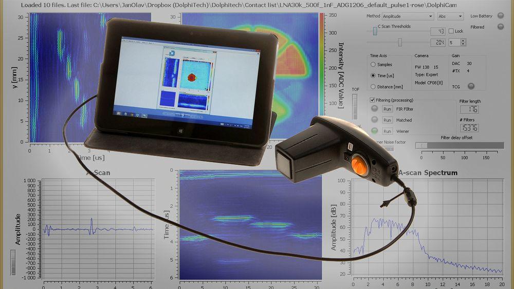 Dolphicam er lite og nett NDT-utstyr. Det brukes til å finne skader, delamineringer og andre defekter i karbonstrukturer.